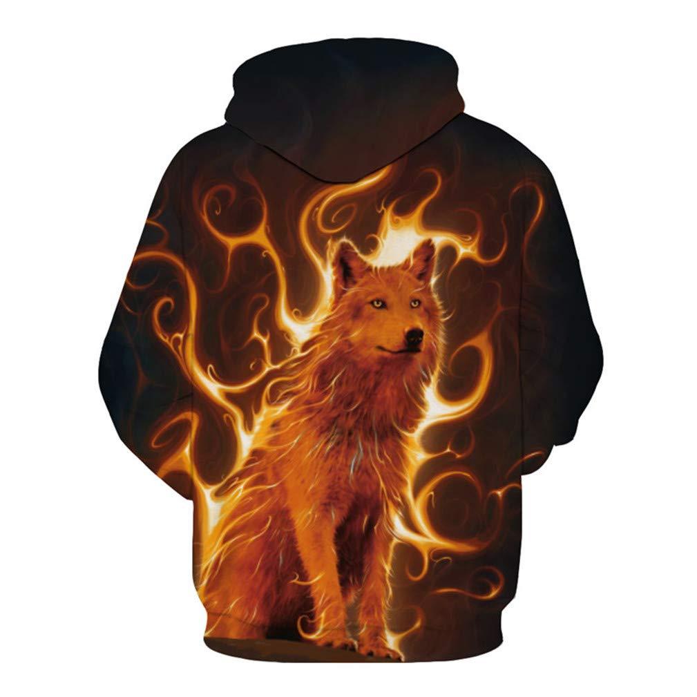Flame Wolf Print Hooded Sweatshirt Arrive Men Pullover