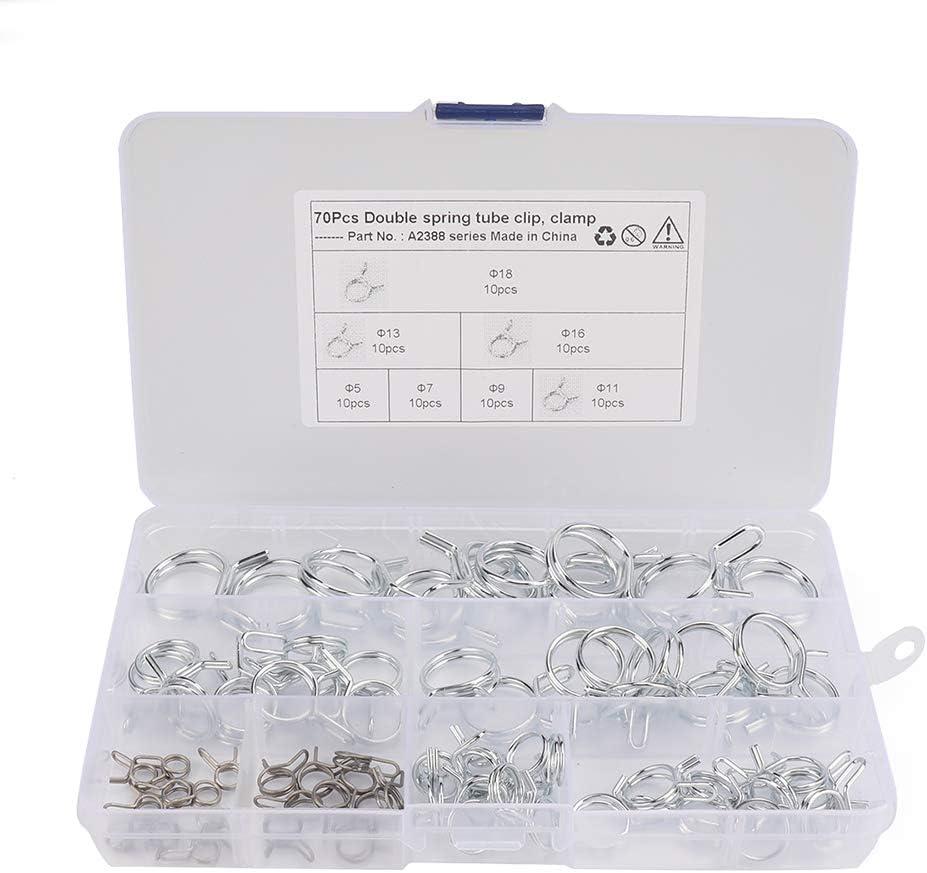 Meipire 70pcs Packung Schlauchschellen 304 Edelstahl Schlauchschelle /Φ5-/Φ18 Doppelte Drahtfederklemme Wasserschelle Kraftstoffrohrschelle