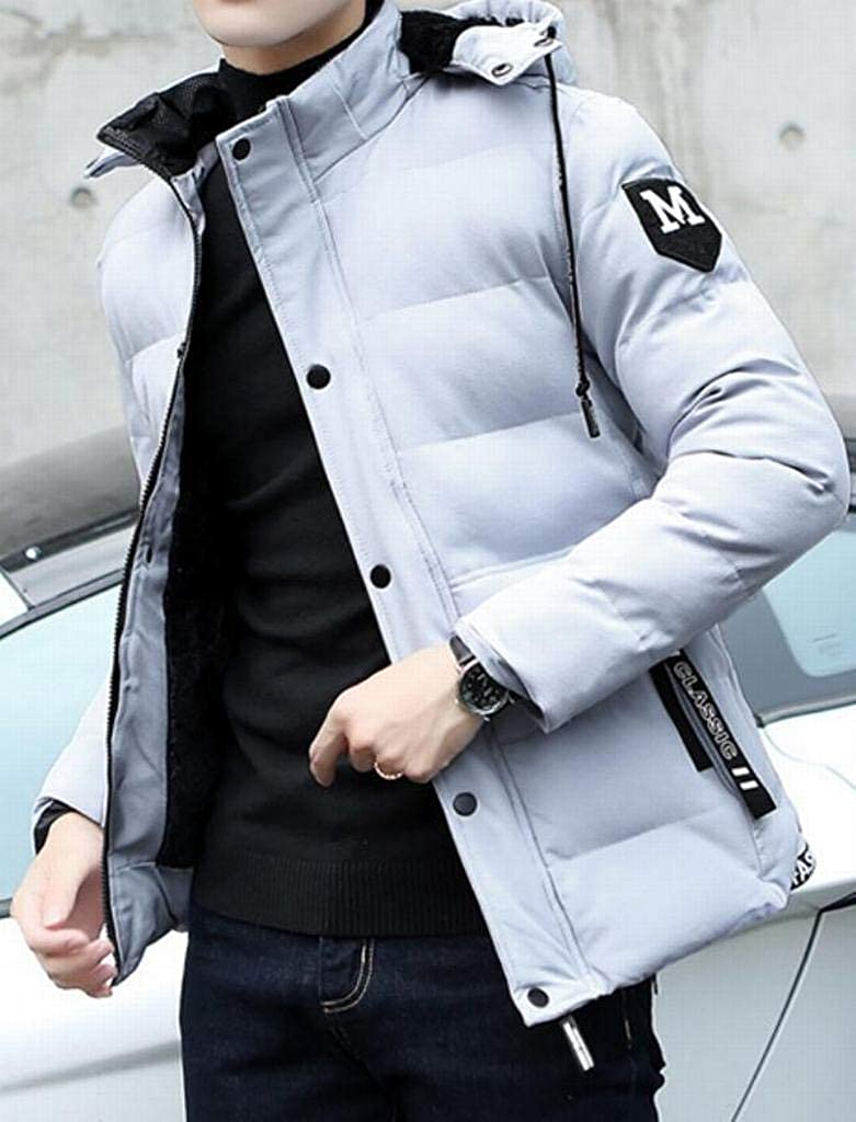 OTW Mens Warm Hoodie Quilted Fashion Longline Casual Winter Zip Up Puffer Coat