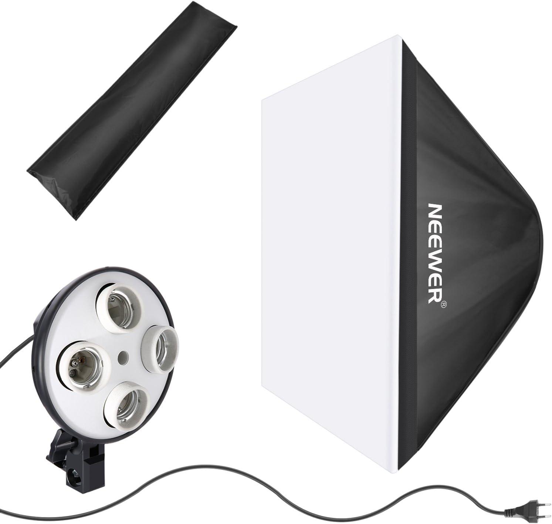 Neewer Foto Estudio Fotografía 50x65cm Reflector de Caja de Luz Suave con Adaptador de Bombilla 4 Enchufes y Cubierta de Difusor Blanco Externo para Grabación de Video(Enchufe UE,Bombilla No Incluida): Amazon.es: Electrónica