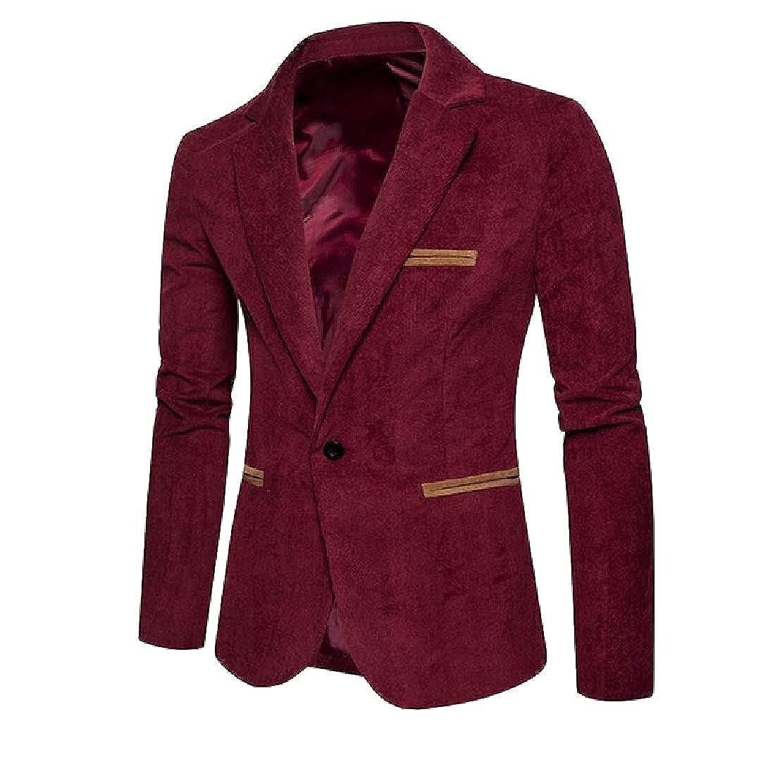 AngelSpace Men Hipster Fall Winter Lapel Pea Coat Blazer Sports Coat Blazers
