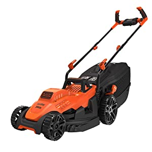 Black+Decker Electric 1400-Watt Lawn Mower with Bike Handle (Red and Black)