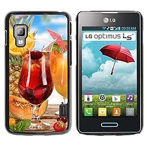 TopCaseStore / la caja del caucho duro de la cubierta de protección de la piel - Fruit Cocktail - LG Optimus L5 II Dual E455 E460
