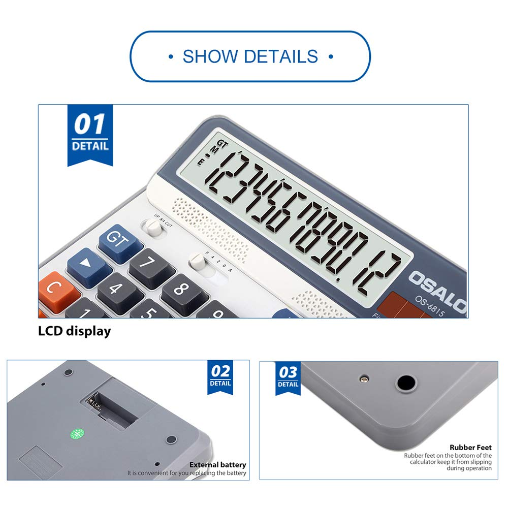 Aibecy Electric Calculator Desktop Counter Solar & Battery Power ABS 12-Digit LCD Display Source for Home Office School -OSALO OS-6815 by Aibecy (Image #1)