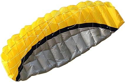 Huge 2.5m Dual Line Parafoil Parachute Stunt Sport Beach Outdoor Yellow Kite