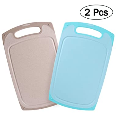 BESTONZON 2PCS Middle Size Cutting Boards for Kitchen Non-slip Juice Grooves Dishwasher Safe 13 x7.8 x0.35
