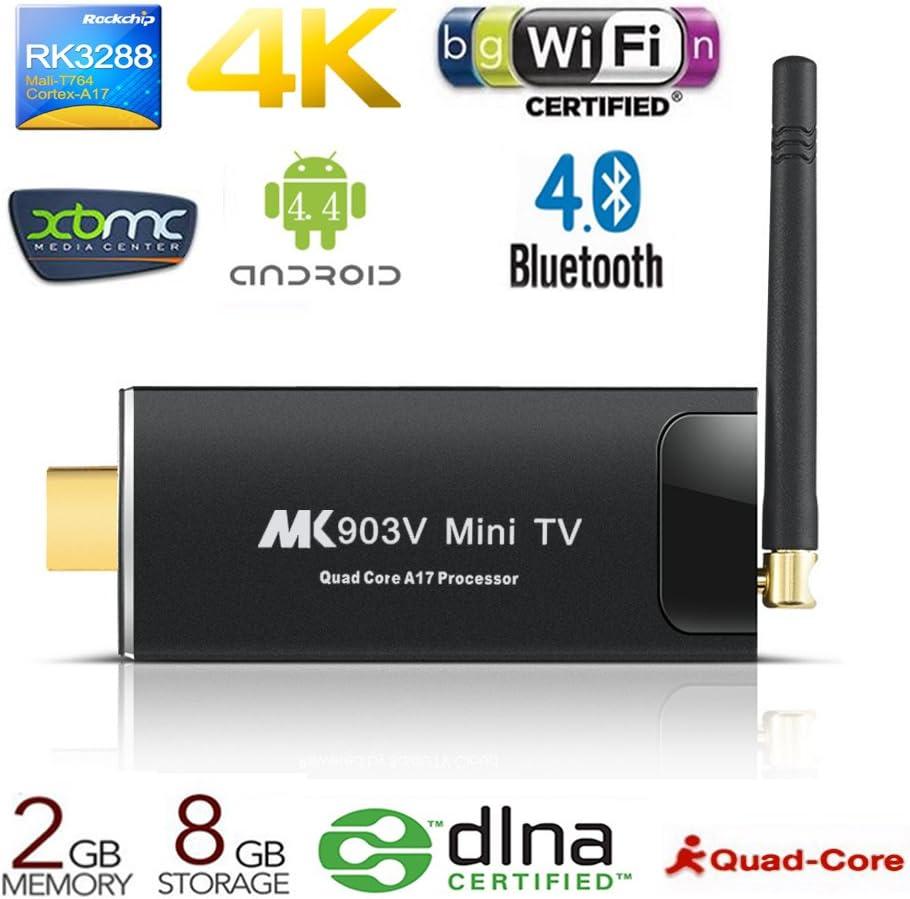 milool Android Mini TV Box MK903 V Smart TV Box Android 4.4 rk3228 con 2 G RAM 8 G ROM Kodi 16.1 WiFi 4 K x 2 K HDMI2.0 Bluetooth 4.0 streaming media player: Amazon.es: Electrónica