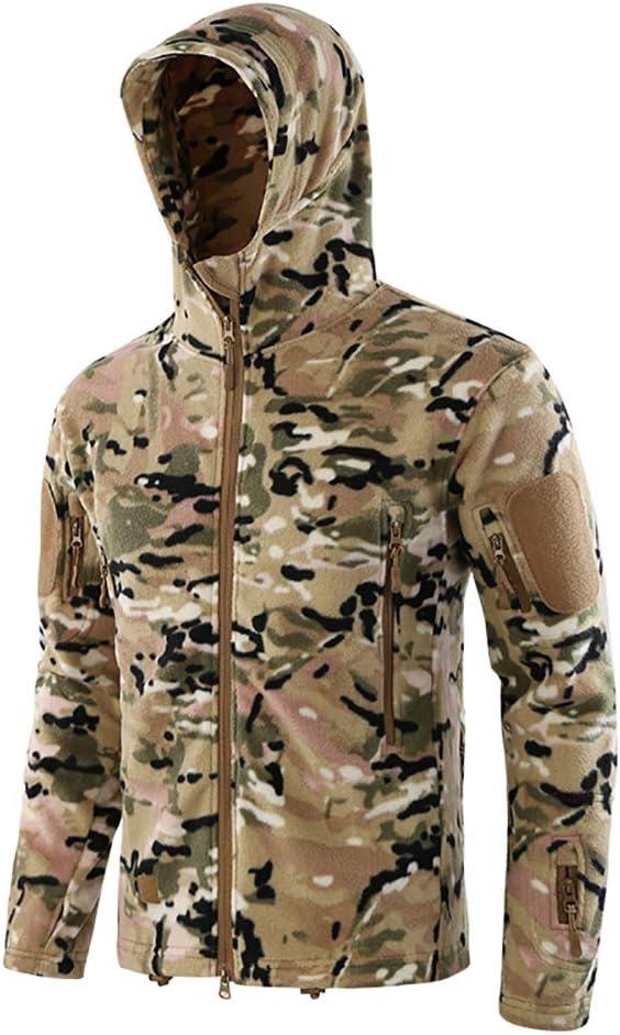 LUCKYGBY Homme Tactique Softshell Veste Camouflage Automne Hiver Outdoor Arm/ée Militaire Polaire Blouson Imperm/éable Manteau /à Capuche Randonn/ée Chasse Cycliste Manteau