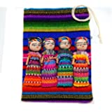 """Large Worry Doll Pouch Contains 4 2"""" Dolls From Guatemala"""