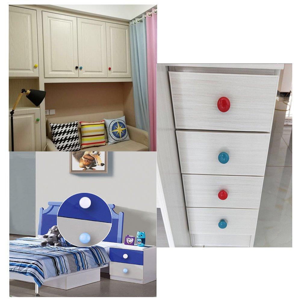 10 pomos redondos de cer/ámica de colores para armario con un solo agujero puerta armario aparador azul tirador para caj/ón