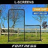FORTRESS Baseball 7' x 7' Practice L-Screen | Protection Backstop Net | Baseball Catching, Hitting and Pitching Training Equipment - [Net World Sports]