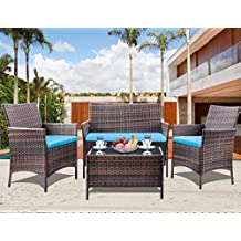 Leisure Zone 4 PC Rattan Patio Furniture Set Garden Lawn Sofa Cushioned Seat Wicker, Blue Cushion