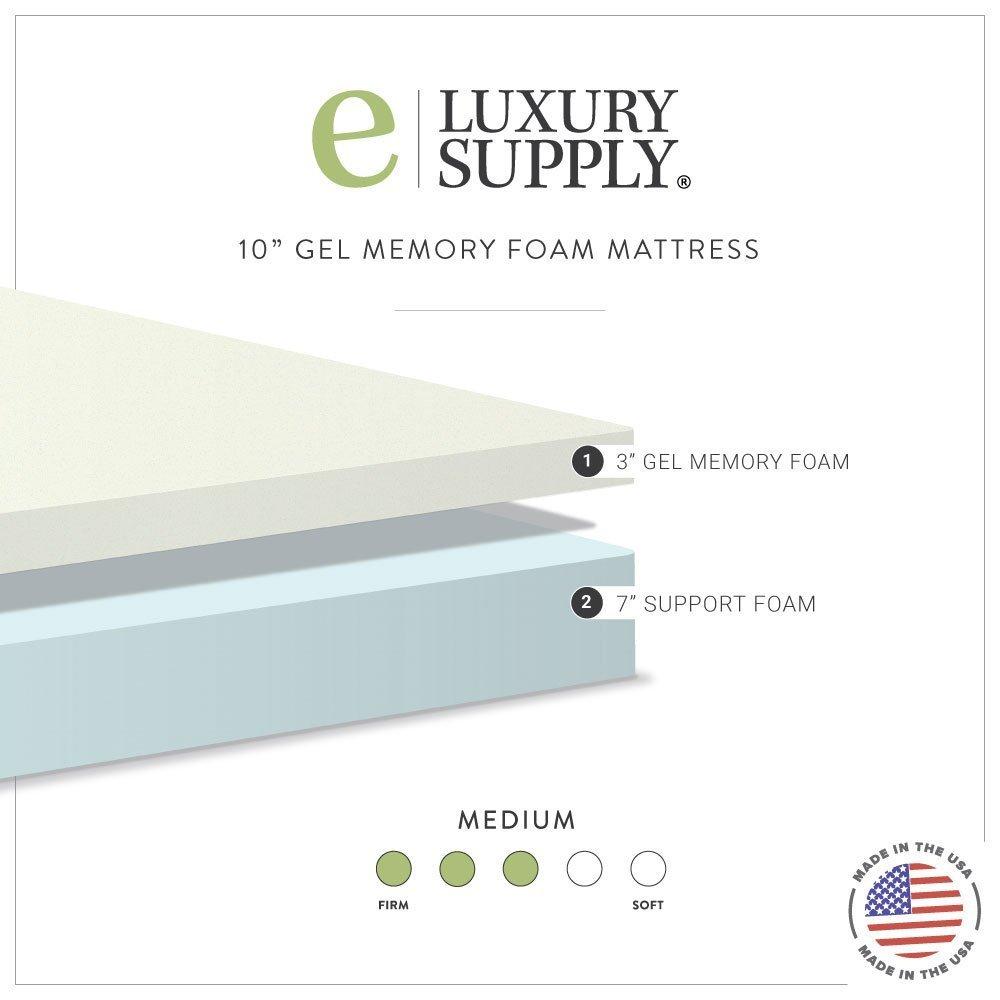 Amazon.com: Gel Memory Foam 10 inch Mattress Made in the USA by  eLuxurySupply - Queen: Kitchen & Dining