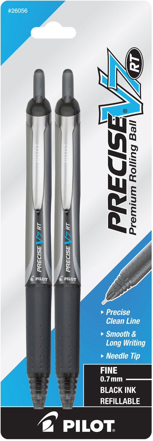 Pilot Precise V7 RT Retractable Rolling Ball Pen Fine Point 2-Pack Black Ink (26056) Retractable, Premium Comfort Grip, Patented Precision Point Technology for Smooth Lines to End of Page by Pilot (Image #1)