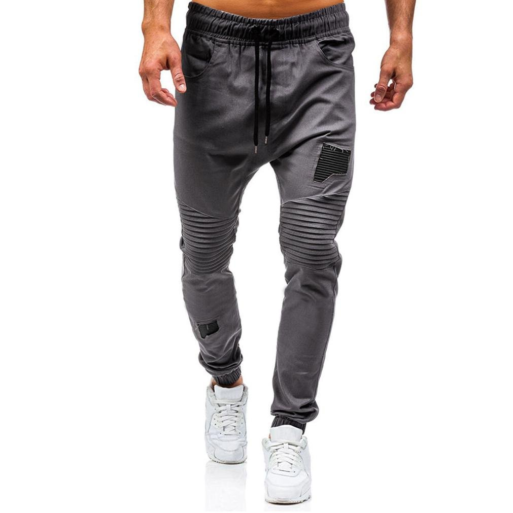 Dream_mimi Fashion Men's Drawstring Classic Jogging Pants Zipper Pocket Sports Sweat Pants Drawstring Pocket Sports Pants