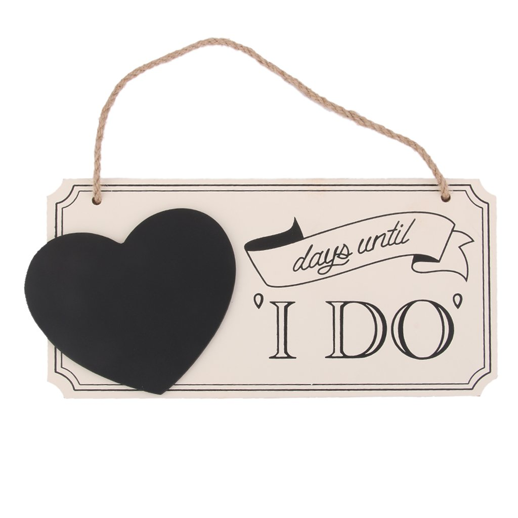 days until I DO Wooden Chalkboard Sign Vintage Wedding Countdown Sign Generic AEQW-WER-AW136904
