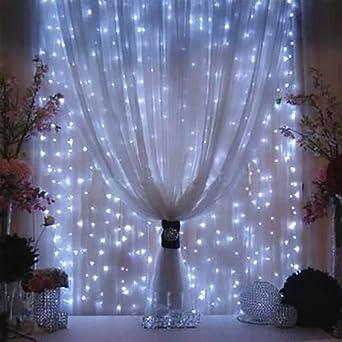 3M x 3M LED Guirlandes Rideaux Lumineux Decoration de Fenetre ...