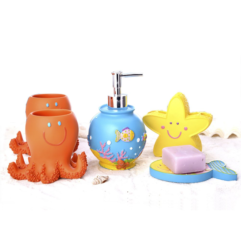 Funnuf 5 Pieces Kid Animals Octopus Starfish Fish Resin Bathroom Accessories Set Lotion Soap Dispenser Pump Toothbrush Holder Tumblers Soap Dish