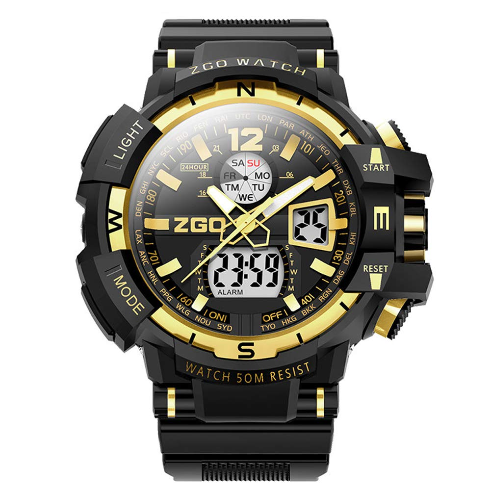 WERTY&K Mens Sports Digital Watches - Waterproof Electronic Watch with Alarm,Big Face Military Casual Chronograph Wrist Watches with Led Backlight for Boys Teenagers - Black,Coldlightversiond