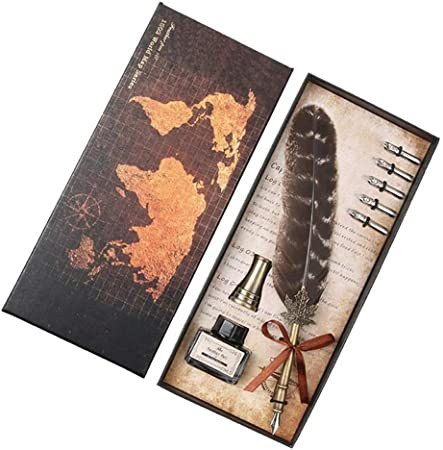 Pluma de Escritura de Fuente Retro Pluma Dip Pluma de Escritura de Tinta Conjunto Plumas de Escritorio Caja de Regalo con 5 Regalos de Boda Pluma de la Escritura Suministros LTJTCDHJD: Amazon.es: