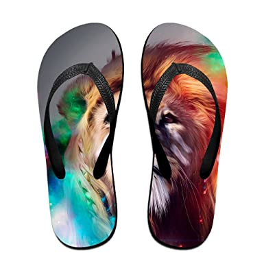 Unisex Summer Colorful Lion Beach Slippers Home Flip-Flop Flat Thong Sandal Shoes