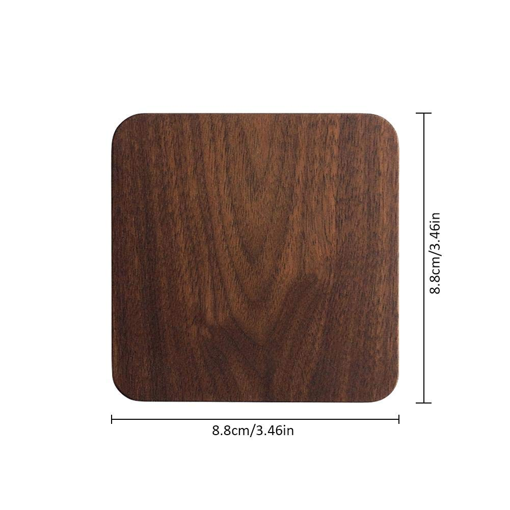 Shantan Heat Insulation Wooden Tea Coffee Cup 5pcs Coaster Ceremony Accessories Decor Walnut Square Thickening Placemat Coasters Holder Mat Pads for Drinks Beech Bowl Set Kitchen Pot Table Dish Trays by Shantan (Image #3)