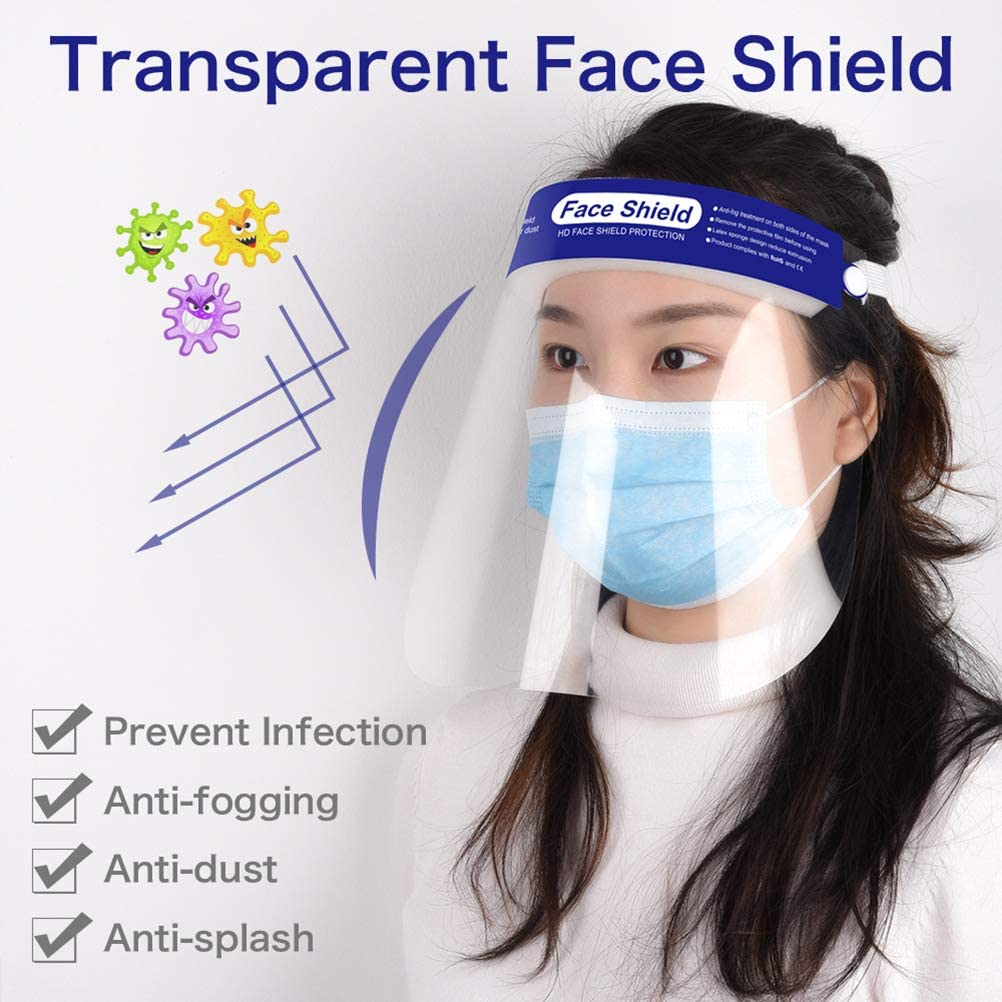 /Écran Facial Transparent r/églable l/éger pour Hommes Femmes /Écran Facial de s/écurit/é Capuchon de Protection Complet Lentille Anti-bu/ée cracheuse r/ésistante /à la visi/ère