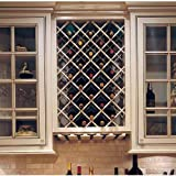 Hickory Cabinets Omega National Premium Cabinet Mount Wine Lattice, 18 Bottle Capacity, 24 inch W x 30 inch H, Hickory Unfinished Wood