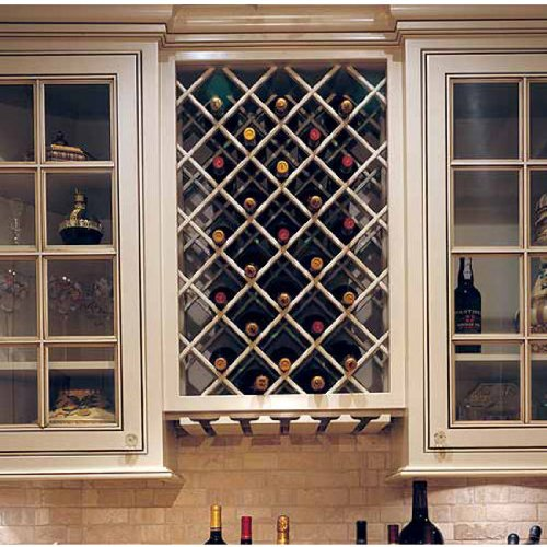 Omega National Premium Cabinet Mount Wine Lattice, 11 Bottle Capacity, 17 inch W x 29 inch H, Maple Unfinished Wood