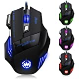 [T80 New Version] DLAND ZELOTES Professional LED Optical 7200 DPI 7 Button USB Wired Gaming Gamer Mouse Mice Adjustable DPI Switch Function 7200DPI/3200DPI/2400 DPI /1600 DPI /1000 DPI For Pro Game Notebook PC Laptop Computer (T80-NEW-UK)