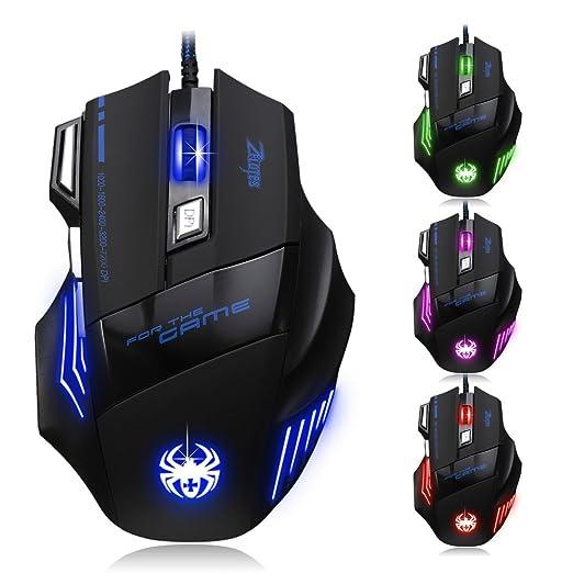 701 opinioni per Dland, Zelota, mouse ottico professionale, con LED, 7200dpi, 7 tasti, con cavo