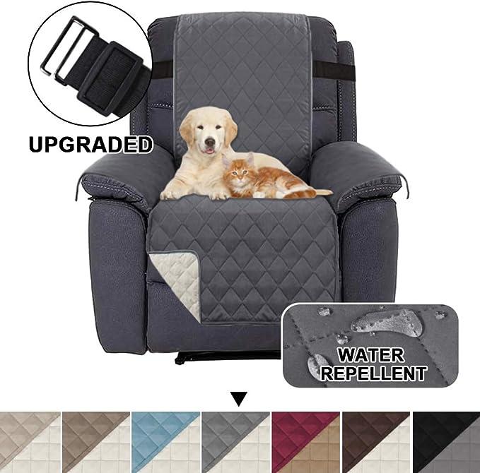 Image ofFundas Impermeables para sillas reclinables para sillones Fundas reclinables para sillas de Cuero Fundas reclinables para sillas Proteger (Sillón reclinable, Gris/Beige)