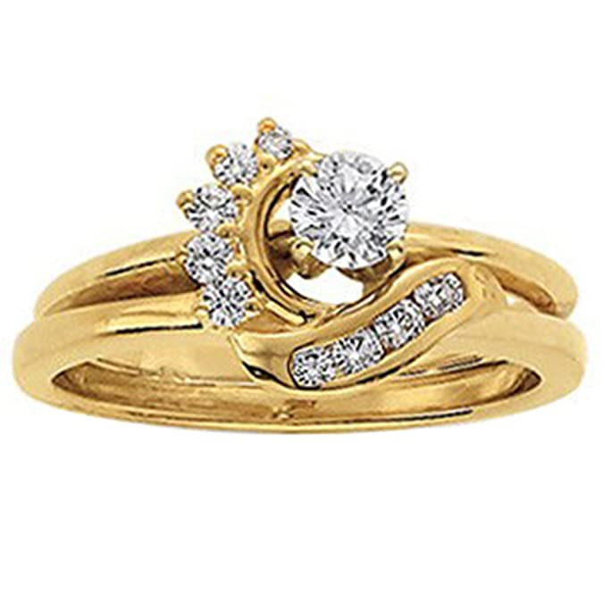 14k White Gold Plated Simulated Diamonds Station Solitaire Swirl Wrap Ring Guard Enhancer 1//6 ct