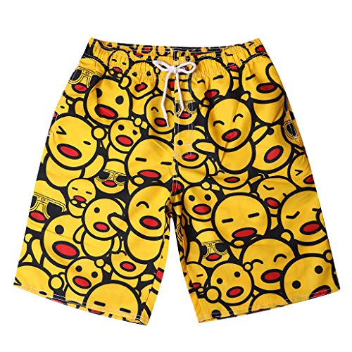 Topgee Mens Spring Summer Shorts Swim Trunks Smiley Face Beach Boxer for Holiday - Boxer Smiley Face
