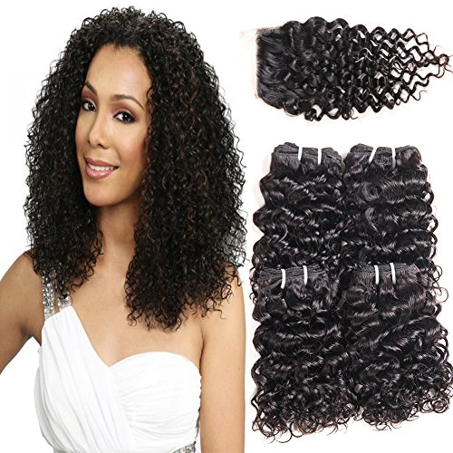 Beauty : PANEWAY 100% Brazilian Virgin Kinky Curly Human Hair 4 Bundles With Lace Closure Unprocessed Curly Hair Extensions Weave Free Part Closure Natural Black Color Party for Black Women (8 10 12 14+10)