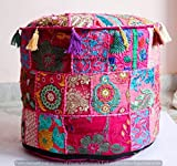 Jaipur International Textiles Indian Round Ottoman Cover Hippie Patch Work Cotton Round Pouffe Foot Stool Throw Living Room Decorative Cotton Bohemian Pillow Cover