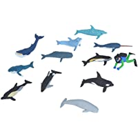 Wild Republic Whales and Dolphins Tube, Bottlenose, Spotted, White-sided Dolphins, Narwhal, Orca, Beluga, Humpback, Gray…