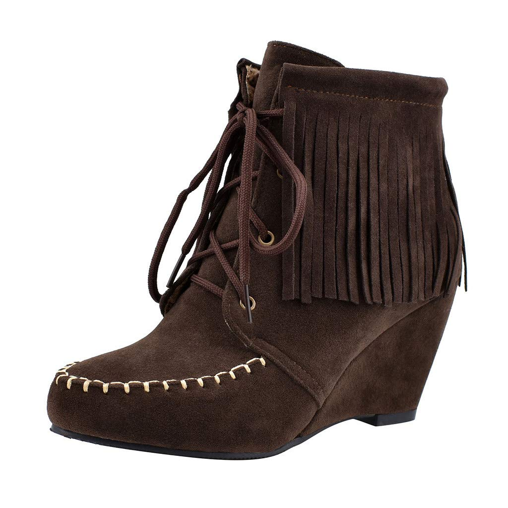 Inverlee Shoes Women's Wedges Short Boots Large Size Fringed Csual Shoes Lace-Up Ankle Booties Brown