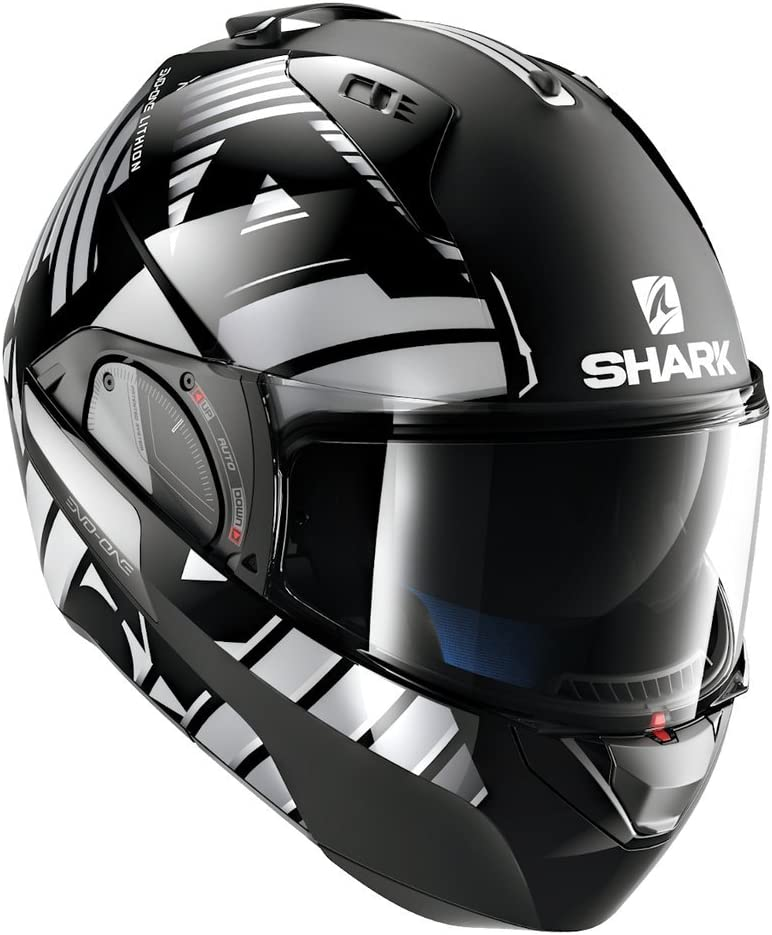 Shark Unisex-Adult Flip-Up Helmet (Black/Chrome, M - 57-58 cm - 22.4-22.8'')