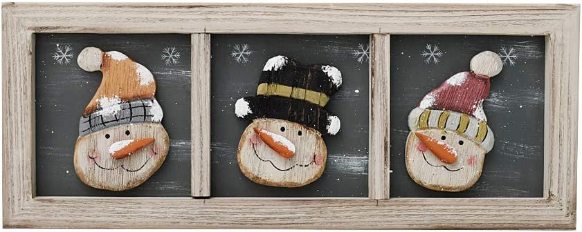 E-view Christmas Decoration Wood Snowman Hanging Sign Holiday Xmas Home Decor Vintage Decorative Ornaments Winter Wall Art (Snowman)