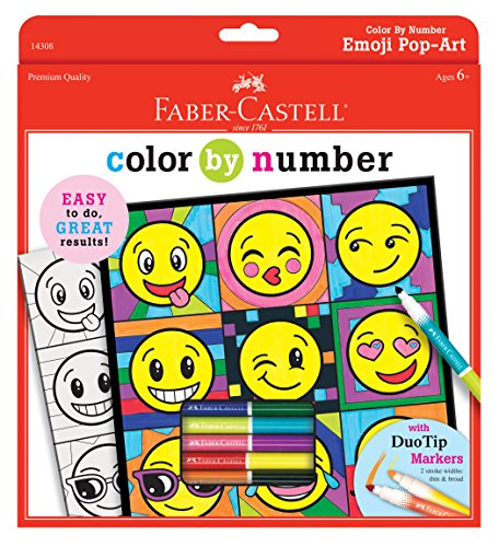 (Faber Castell Color by Number Emoji Pop-Art - Color by Number with Markers for Kids)