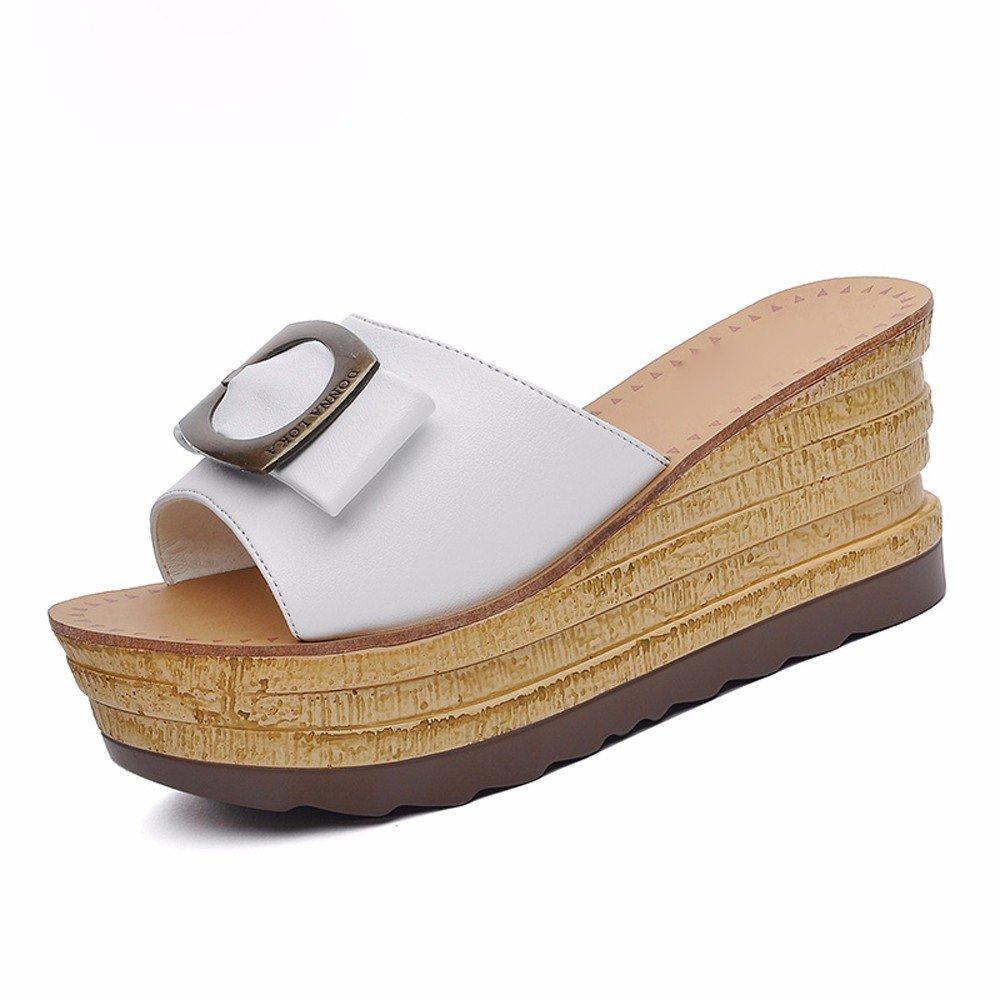KHSKX-Weiße 7.5Cm Hausschuhe Frauen Tragen Alle Treffer Sommer Dicksohlige Schuhe Schuhe Dicksohlige Tragen Sandalen Mit Folie Plattform Thirty-nine 5ac629