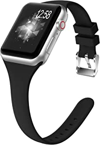 ZALAVER Slim Band Compatible with Apple Watch 38mm 40mm 42mm 44mm, Soft Silicone Narrow Thin Sport Replacement Wristband for iWatch Series 6/5/4/3/2/1, Women Men