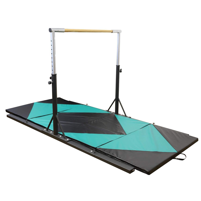 Usexport ジムナスティック ジュニア トレーニング 水平バー 調節可能 3フィートから5フィートと4フィートx10フィートx2 折りたたみ式ジムマットコンボ B07HF58VGD グリーン&ブラック