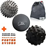 Massage Ball Set: Deep Tissue, Trigger point, Myofascial Release & Plantar Fasciitis Therapy. Lacrosse, Spiky & Foam Roller Muscles Massager Balls+ VIDEO GUIDE +POSTER