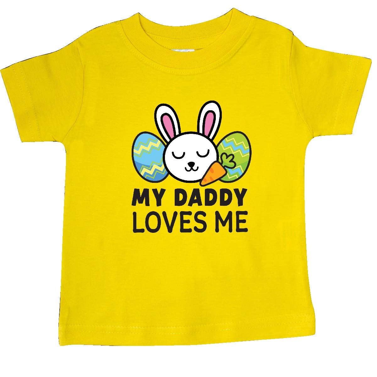 inktastic My Daddy Loves Me with Bunny and Easter Eggs Baby T-Shirt