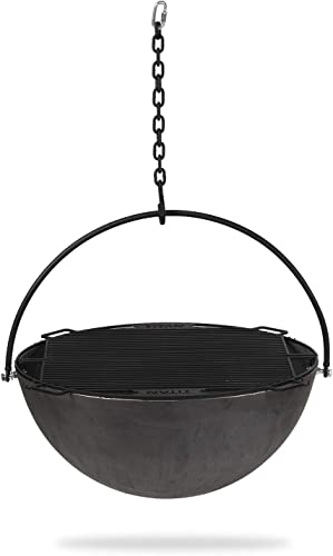 Titan 42-in Cauldron Fire Pit Bowl with Grate and Chain