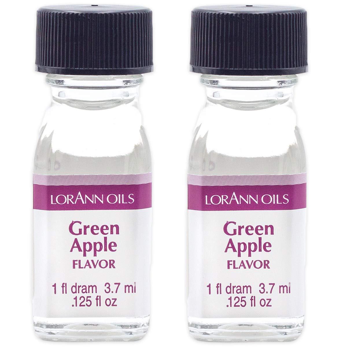 LorAnn Green Apple Super Strength Flavor, 1 dram bottle (.0125 fl oz - 3.7ml) - 2 pack