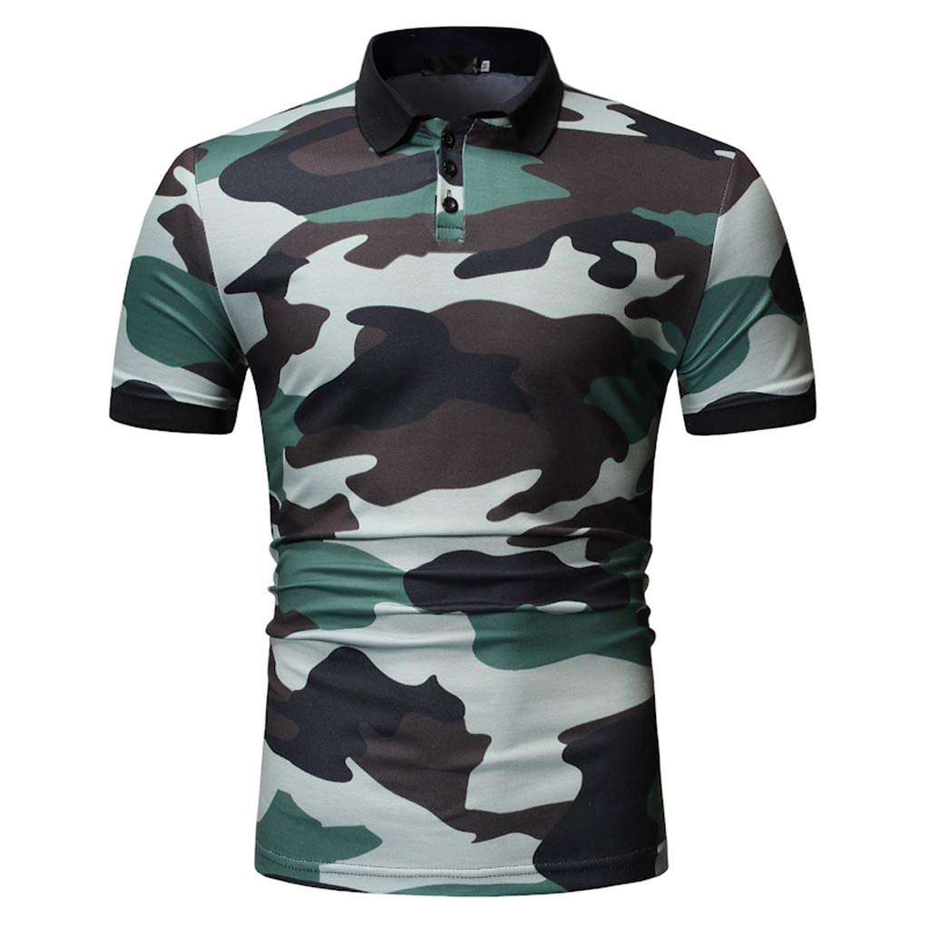 Mr.Macy Men Camouflage Splicing Pattern Casual Fashion Lapel Short Sleeve Shirt
