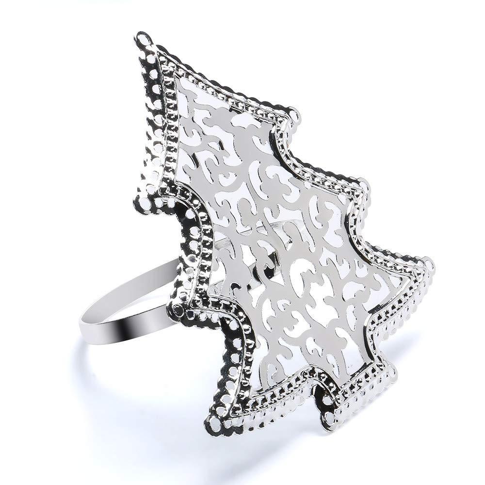 Tuu Christmas Napkin Ring,Silver Christmas Tree Sharp Table Napkin Holder for Christmas Dinner (Silver)